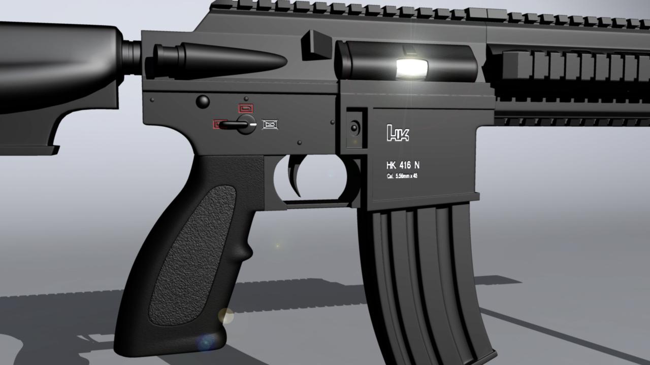 Hk416 assault rifle 3d art work in progress