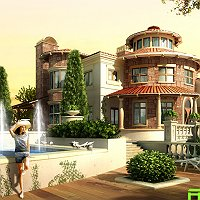 3d rendering of a villa Finished 3D Art Work