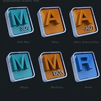 Autodesk Application Icons Finished 3D Art Work
