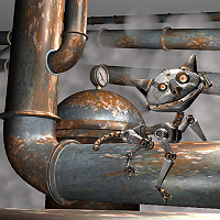 The ALLEYCAT (Steam Punk Cat) Finished 3D Art Work