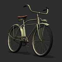 Realistic Low Poly US Army Bicycle Finished 3D Art Work