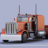 Peterbilt 359 Truck Cab & Trailer Low Poly 3D Vehicle Mo 3D Art Work In Progress